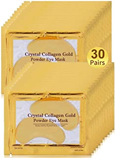 Under Eye Patches, 30 Pairs Gold Eye Mask, Eye Gel Pads With Collagen, Eyes Treatment for Reducing Dark Circles, Lighten W...
