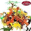 動物フィギュアおもちゃセット 44個ミニ動物おもちゃ 16個フェンス 4本の草 1本の木付け 小さい動物玩具モデル