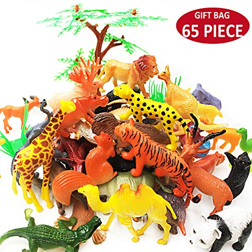 65 Pieces Animal Figures Toy Set - Plastic Mini Educational Jungle Animal Toys for Boys Girls Kids Toddlers Farm Small Animals. Includes 44 Mini Animal Figures,16 Fences, 4 Grass and 1 Trees