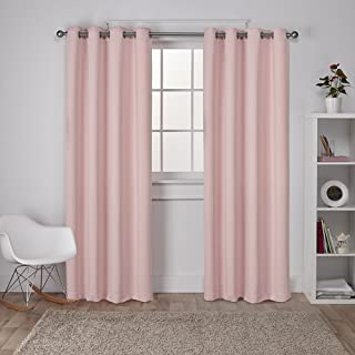 Exclusive Home Curtains Sateen Twill Weave Blackout Window Curtain Panel Pair with Grommet Top, 52x108, Blush, 2 Piece