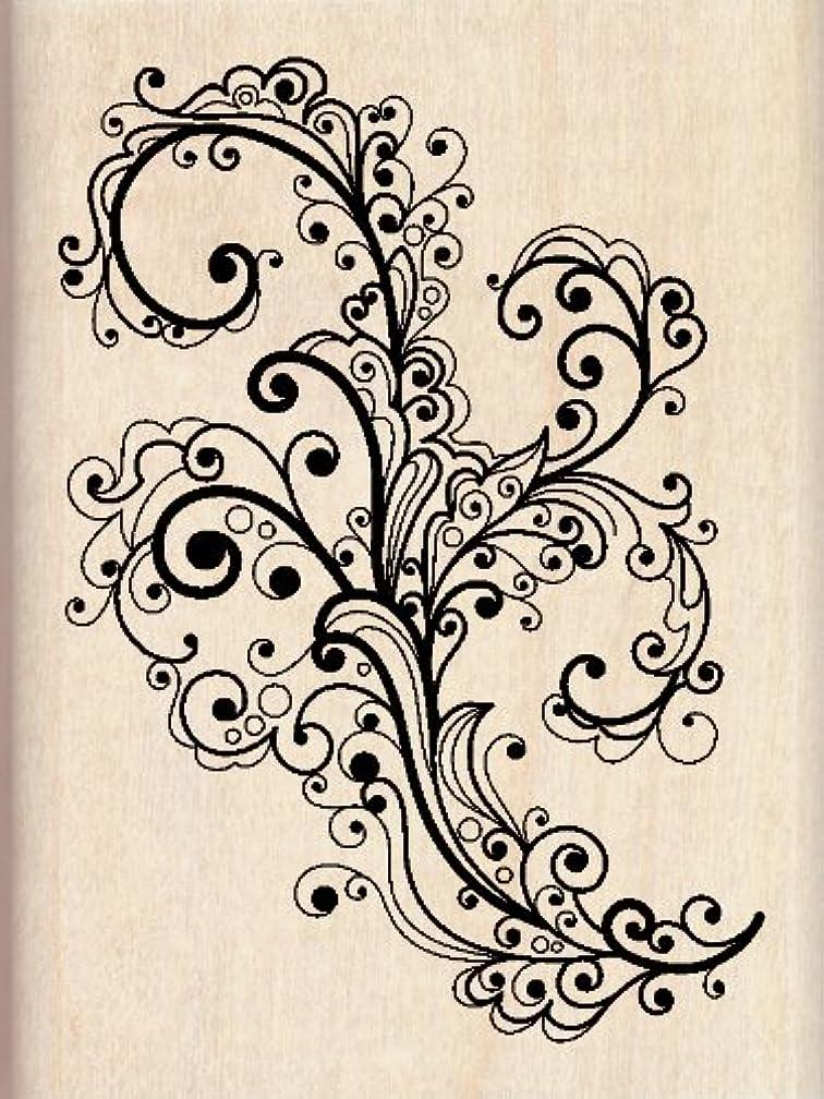 Inkadinkado Decorative Flourish Wood Stamp for Arts and Crafts, 2.25'' W x 3'' L