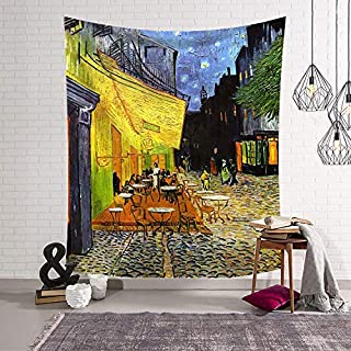 QCWN Cafe Terrace at Night by Vincent Van Gogh Starry Night Art Oil Painting Tapestry Wall Hanging for Bedroom Living Room Dorm Home Decoration Art (8, 78Wx59L)