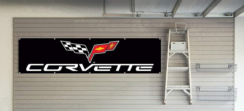 Daoops Corvette Flag Mechanic Banner Daily bargain sale Chevy 2x8ft Max 50% OFF