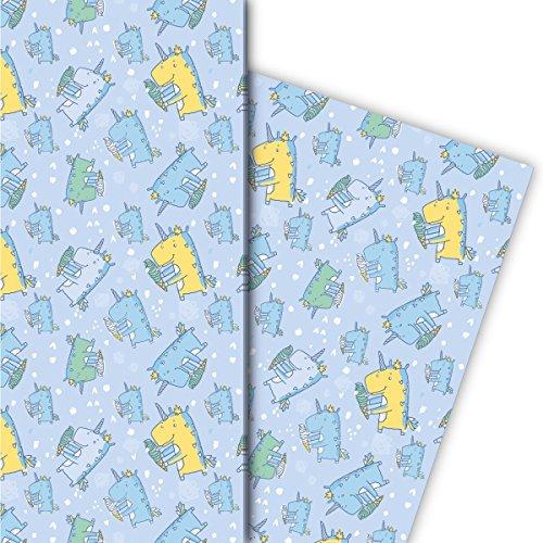 Kartenkaufrausch Schattige cadeaupapierset voor kinderen, met eenhoorn-dinosaurus, lichtblauw, voor leuke geschenkverpakking, om in te pakken, designpapier, scrapbooking, 4 vellen, 32 x 48 cm