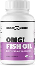 Omega 3 Fish Oils Supplements - NO Fishy Burps - 100% Anchovies (Lower Mercury with Small Fish) and Non-GMO by Crazy Muscle: 250% More DHA EPA Lowering Cholesterol Products per Serving - 120 Softgels