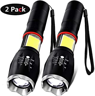 LED Flashlight, Vnina Tactical Flashlights Super Bright LED Torch Light 6 Light Modes 1200 Lumen, Zoomable Adjustable Focus Portable Water Resistant for Outdoor Hiking Camping Emergency, 2 Pack