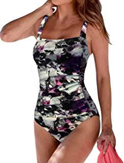 Upopby Women's Vintage Padded Push up One Piece Swimsuits Tummy Control Bathing Suits Plus Size Swimwear