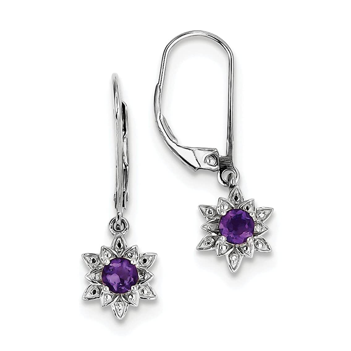 Solid .925 Sterling Silver Rhodium-plated Diamond & Amethyst Earrings 28x9mm