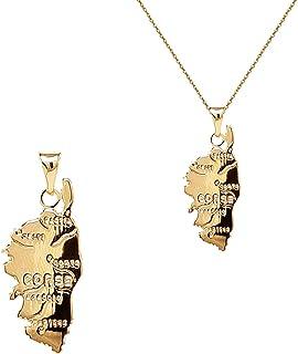 VAWAA Carte De Couleur Or Clair De Corse Pendentif Colliers pour Femmes//Hommes L/île De Corse Cartes Bijoux La Corse 45cm Fine Cha/îne