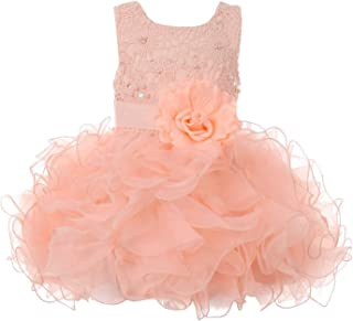 f580eb81177 Cinderella Couture Baby Girls Peach Lace Sequin Multi Layer Ruffle Flower Girl  Dress 6-24M