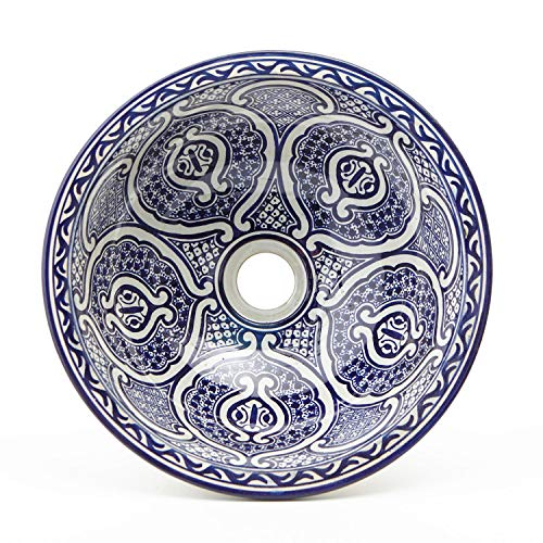 Orientalische Keramik-Waschbecken Fes75 blau weiß Ø 35 cm rund | Marokkanische Aufsatzwaschbecken handbemalt Handwaschbecken für Küche Badezimmer Gäste-Bad | Einfach schöner Wohnen