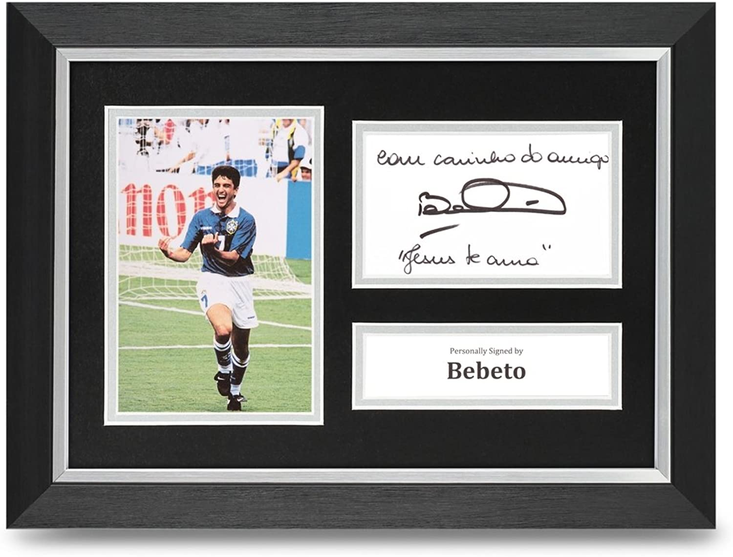 Bebeto Signed A4 Framed Photo Display Brazil Autograph Memorabilia + COA