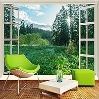 カスタム壁画壁紙3Dサンシャインフォレストグリーンスペースウィンドウ自然風景壁画リビングルームテレビソファ背景壁画, 300cm×210cm