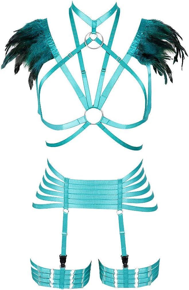 PETMHS Women's Feather Harness Bra Strap Full Body Frame Epaulette Shoulder Wing
