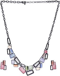 PRITA Black Metal Finish Collar Necklace Set for Girls/Women
