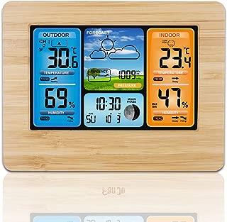 Barbella Wireless Weather Forecast Station-Color Display Alarm Clock Temperature Alerts, Indoor Outdoor Temperature Humidity, Remote Sensor, Barometer Temperature Alerts, Alarm Clock and Moon (Yellow)