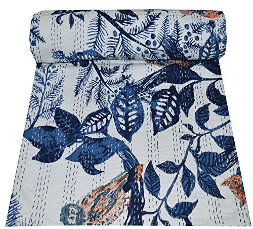 Somukara Colcha Kantha de algodón indio con estampado floral de búho hecho a mano, colcha kantha, colcha tamaño doble / queen Kantha, funda de cama Gudri (azul, Queen (222,8 x 250 cm)