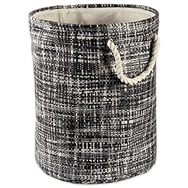 DII Woven Paper Basket or Bin, Collapsible & Convenient Home Organization Solution for Bedroom, Bathroom, Dorm or Laundry (Medium Round - 14x17) - Black Tweed
