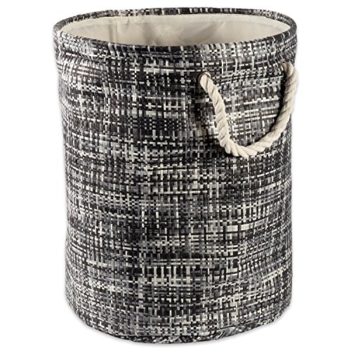 """DII Woven Paper Basket or Bin, Collapsible & Convenient Home Organization Solution for Bedroom, Bathroom, Dorm or Laundry (Large Round - 15x20"""") - Black Tweed"""