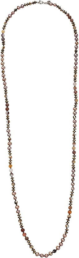 Chan Luu - Sterling Silver Elongated Necklace with Dyed Fresh Water Pearls and Semi Precious Stones