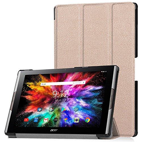 Lobwerk Tablet Hülle für Acer Iconia Tab 10 A3-A50 10.1 Zoll Schutzhülle Smart Cover mit Auto Sleep/Wake, Standfunktion & Touchpen Bronze