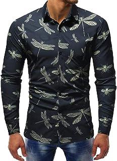 FSSE Men Casual Business Dragonfly Printed Long Sleeve Button Down Dress Work Shirt