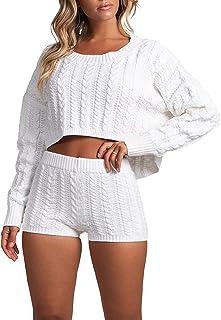 Conjunto de pijama de 2 piezas para mujer, color sólido, de punto, de manga larga, cuello redondo, corte corto, pantalones cortos, pantalones cortos, casual, de punto