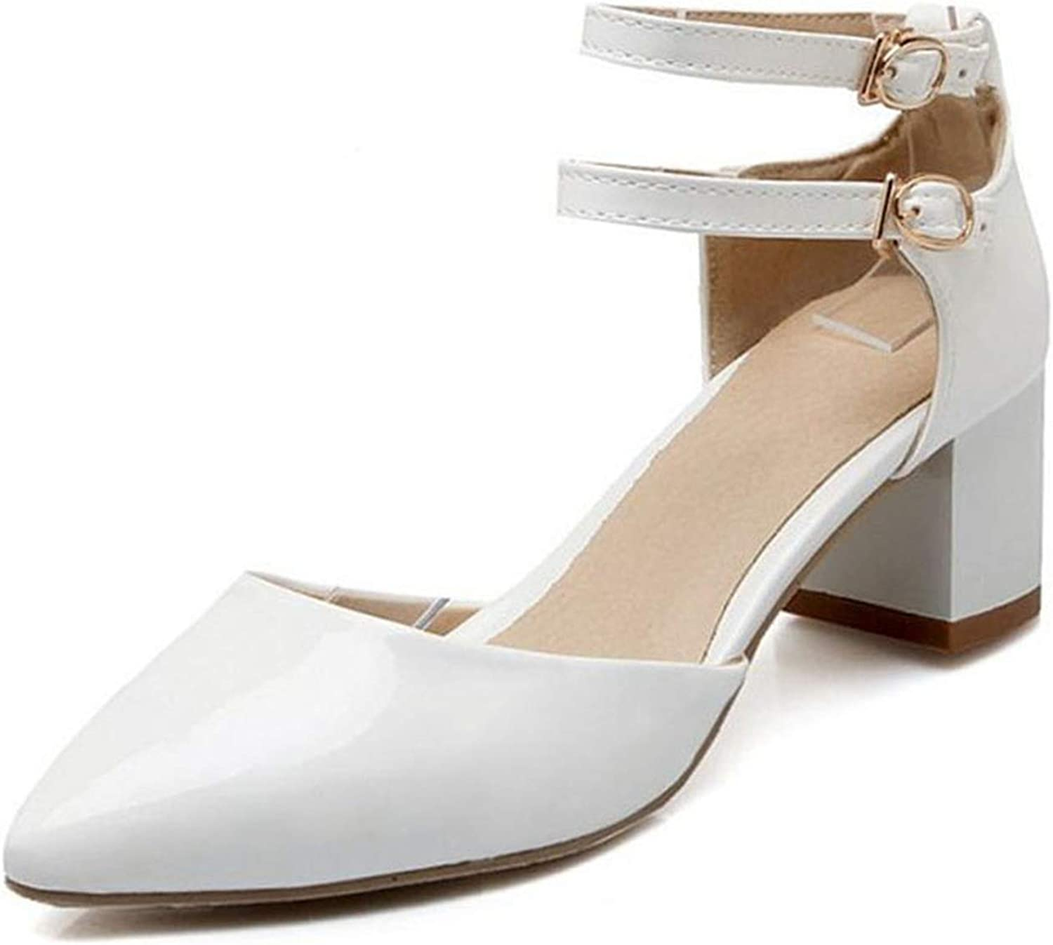 Fairly Elegant High Heel Ankle Strap Pointed Toe Thick Heel Summer Party shoes Sandal,White,8