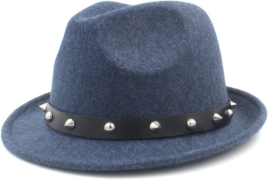 Fedora Hats for Cashmere Trilby Homburg Church Jazz Hat with Punk Belt,Lightweight,Breathable (Color : Blue, Size : 57-58cm)