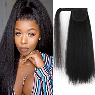 CINHOO 20 Inch Long Kinky Straight Ponytail Extension Magic Paste Clip in Yaki Wavy Synthetic Wrap Around Ponytail Black Hairpiece for Women (1B#(Black))