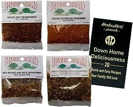 River Road by Fiesta Cajun Salt Free Seasoning Favorites 4 Flavor Plus Recipe Booklet Sampler Bundle, 1 each: Meatloaf, Chicken Fettuccine, Red Beans and Rice, Green Pepper Steak (1 Ounce)