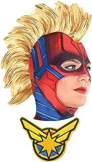 Captain Marvel Carol Danvers Endgame Movie Mask Brie Larson Mohawk Wig Cosplay Costume Adults Women's Girls Kids w/Patch