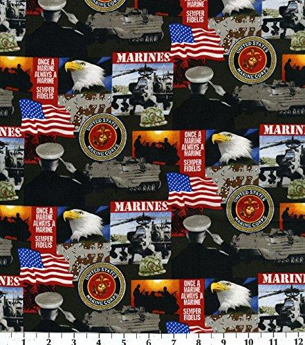 Cotton United States of America Marines Military Cotton Fabric Print - 021marines