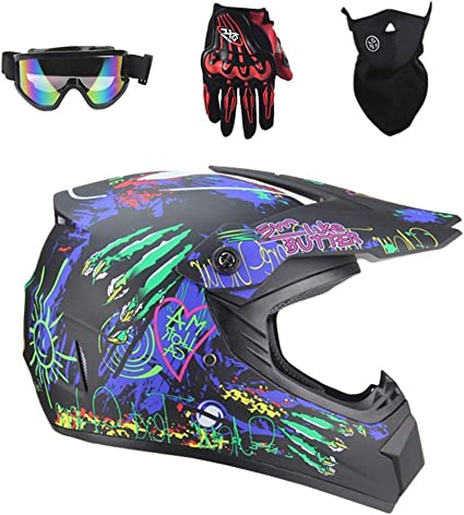 Professioneller Motocross Helm Adult Kids Off Road Helm Mit Handschuhe Maske Brille Unisex Motorradhelm Cross Helme Schutzhelm Atv Helm Kinder Quad Bike Go Kart Helm Sport Freizeit