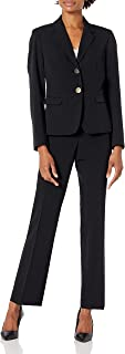 NINE WEST Women's 2 Button Notch Collar Crepe Jacket and Pant