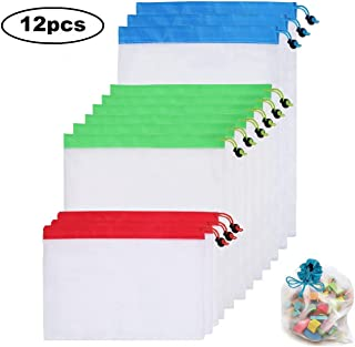 Candygirl 12Pcs Reusable Mesh Produce Bags Washable Eco Friendly for Grocery Shopping and Storage Fruit Vegetable and Toys...