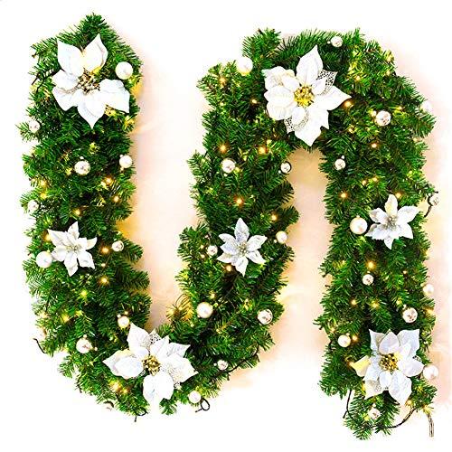 GLITZFAS Weihnachtsgirlande mit LED, 2.7 Meter Tannengirlande Aussen, Weihnachts Tannenzweiggirlande, Treppe Weihnachtsdeko Aussen (Weiß)