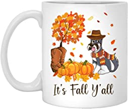 It's Fall Y'all Schnauzer Pumpkin Fall Autumn Thanksgiving 11 oz. White Mug