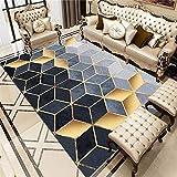 ZHAOPAI Alfombra antifatiga Patrón Cuadrado Visual Azul 3D, Alfombra Simple, a Prueba de Humedad, Moderna alfombras Baratas Salon fácil de aspirar-Azul_El 180x280cm