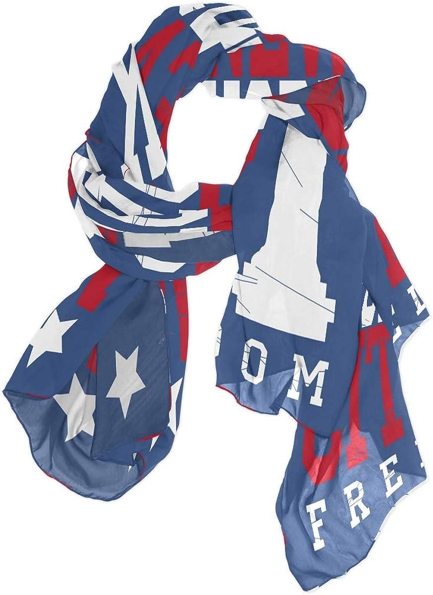 AUUXVA Fashion Scarf New York American Flag Independence Day Long Lightweight Sunscreen Scarf Shawl Wrap Muffler Neckerchief for Women Men