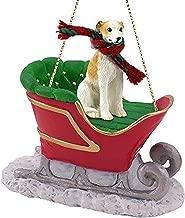 Whippet Tan White Dog Sleigh Holiday Christmas Ornament
