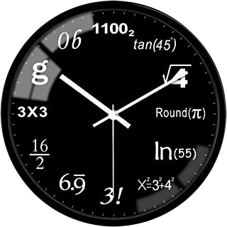 VIKMARI Black Interesting Math Wall Clock Silent Non Ticking - 12 Inch Glass Quality Quartz Battery Operated Round Wall Cl...