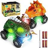 TYRSEN Coches Dinosaurios, T-Rex & Triceratops Dino Cars con Luces LED y Sonidos Realistas, Divertidos Juguetes de Dinosaurios, Regalos Cumpleaños para Niños Niñas
