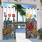 Londres - Cortinas impermeables para cenador, diseño de dibujos animados multicolor con varios lugares de interés, apto para pabellones de terraza al aire libre, 120 x 72 pulgadas, multicolor