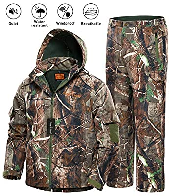 NEW VIEW Hunting Jacket Silent Water Resistant Hunting Camouflage Hooded for Men,Hunting Suit