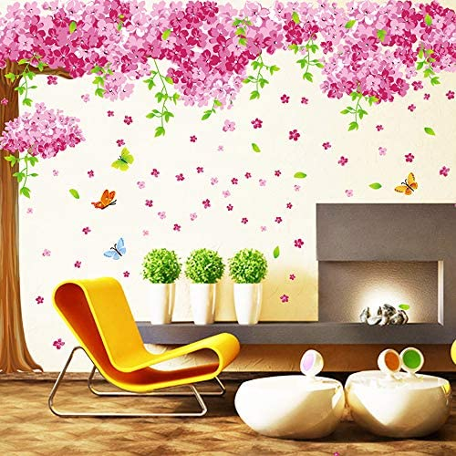 HO BEAR Large Size Cherry Blossom Tree Wall Stickers Decoration Pink Red Colorful Romantic Flower product image