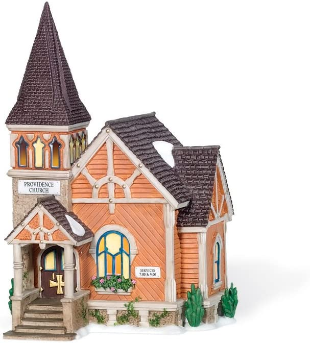Department 56 New England Village Church Animer and price revision Providence excellence Lit Building