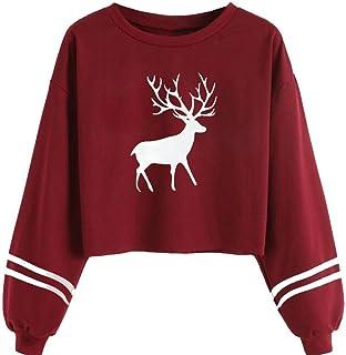 Dubocu Women's Tops Long Sleeve O Neck Deer Print Sweatshirt Tops Blouse