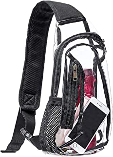 Clear Sling Bag,  Stadium Approved Mini PVC Crossbody Shoulder Backpack,  Transparent Casual Chest Daypack for Women & Men,  Perfect for Hiking,  Stadium or Concerts