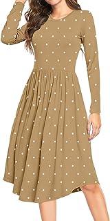 YUNDAI Women Polka Dot Casual Tunic Dress Pleated Loose Flowy Midi Dress with Pocket